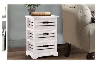 Vintage Bedside Table With 3 Drawers WHITE