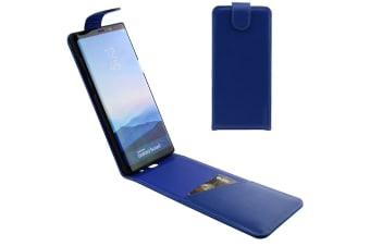 For Samsung Galaxy Note 8 Case iCL Vertical Flip Genuine Leather Cover Blue