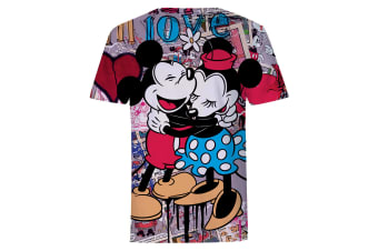 Disney Mickey And Minnie Mouse Hug Love Collage T-Shirt (Multicoloured)