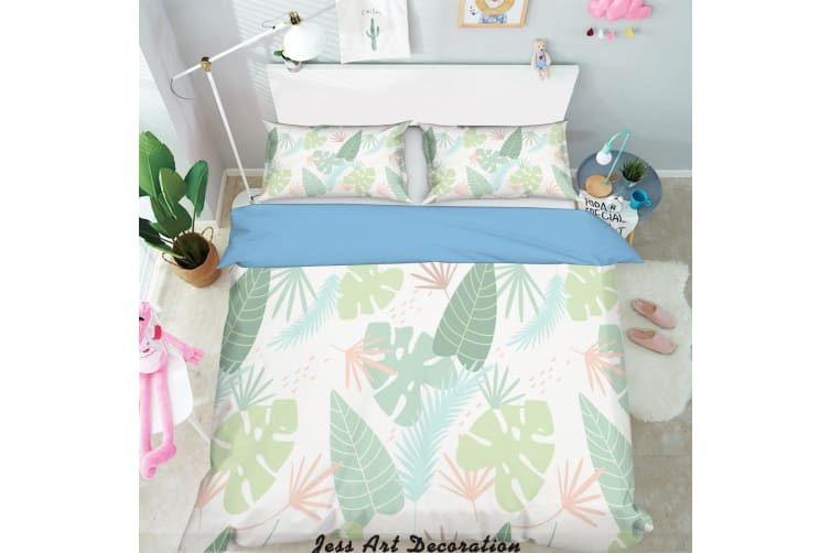 3D Green Tropical Plant Leaves Quilt Cover Set Bedding Set Pillowcases 131-King