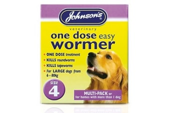 Johnsons 1 Dose Wormer Tablets For Large Dogs (3 Packs) (May Vary) (3 x 8 Tablets)