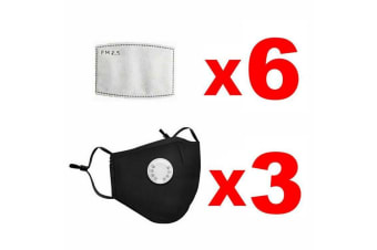 Black Washable Reusable PM2.5 Anti Air Pollution Face Mask With Respirator &2 Filters-3 Packs