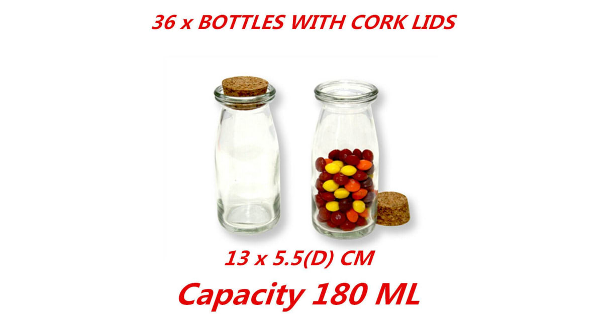 36 X 180ml Small Gl Jars Bottle Milk