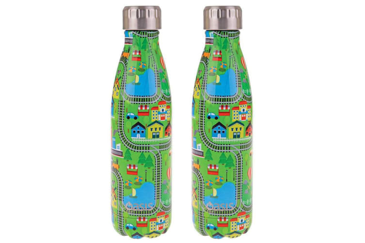 2PK Oasis 500ml Stainless Steel Double Wall Insulated Drink Water Bottle City