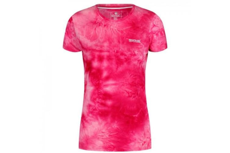 Regatta Womens/Ladies Fingal IV UV Protection Graphic Print T-Shirt (Neon Pink Tie-Dye) (24 UK)