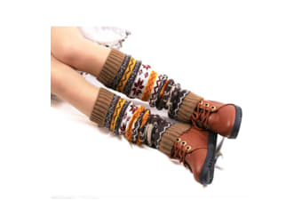Boot Cover,Morecome Womens Leg Warmers Snow Deer Patchwork Knee Leg Socks Khaki