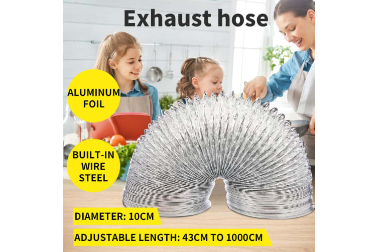 Exhaust Hose Flexible Vent Tubing Duct Tube Air Conditioner Portable Pipe 10cm