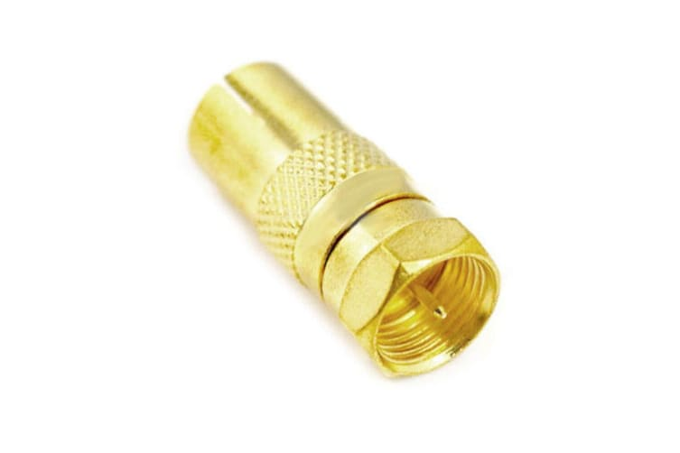 2PK Westinghouse Female Coax PAL to F-Type Male Adapter Antenna Connector Gold