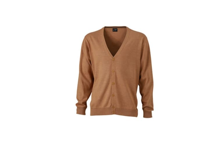 James and Nicholson Mens V-Neck Cardigan (Camel Brown) (XL)