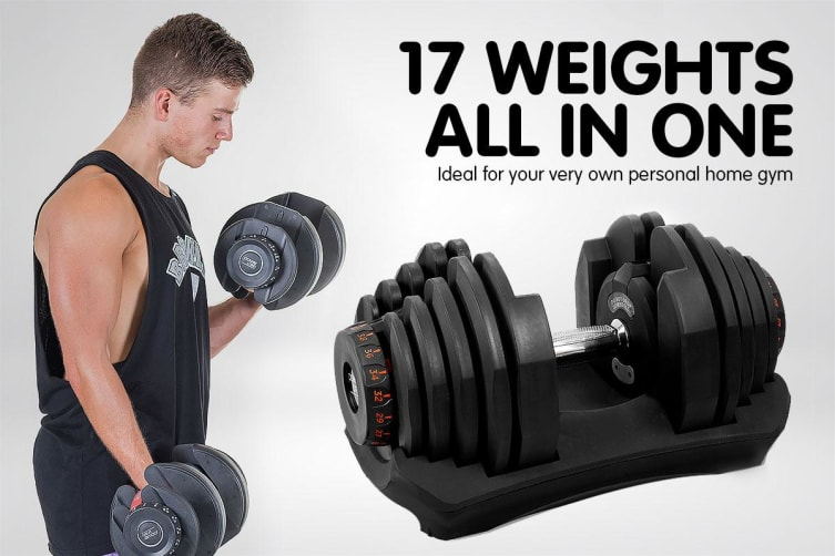 2x 40kg Powertrain Adjustable Dumbbells and Stand Home Gym w/ Bench