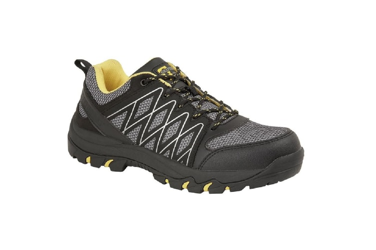 Grafters Mens Toe Capped Safety Trainers (Grey/Black/Yellow) (10 UK)
