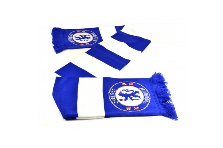 Chelsea FC Official Football Jacquard Bar Scarf (Blue/White) (One Size)