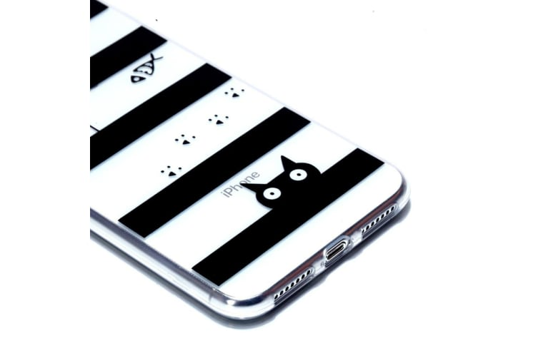 For iPhone XS Max Cover Varnish Painting Soft Thin Mobile Case Cat in Stripes