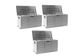 Grey 290L 3X Lockable Outdoor Storage Box