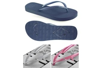 Women's Navy Slim Thongs with 2x Pairs of Interchangeable Grey and Pink Diamante Straps Size 9