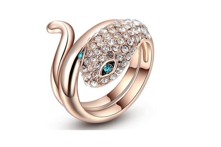 Unique Blue Eye Snake Design Gold Plated Ring Rose Gold Tone 8