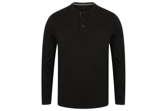 Front Row Mens Washed Long Sleeve Henley T-Shirt (Black)
