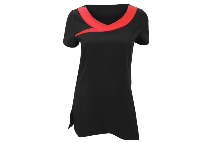 Premier Womens/Ladies Ivy Beauty And Spa Tunic (Contrast Neckline) (Pack of 2) (Black / Strawberry Red) (16)
