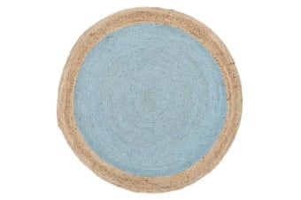 Round Jute Natural Rug Blue 120x120cm