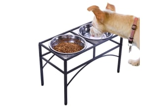 PawZ Dual Elevated Raised Pet Dog Puppy Feeder Bowl Stainless Steel Food Water Stand
