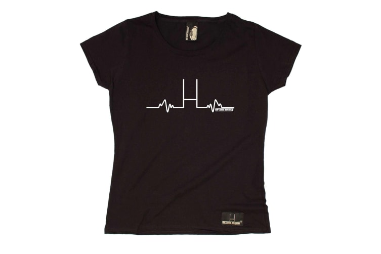 Up And Under Rugby Tee - Pulse - (Large Black Womens T Shirt)