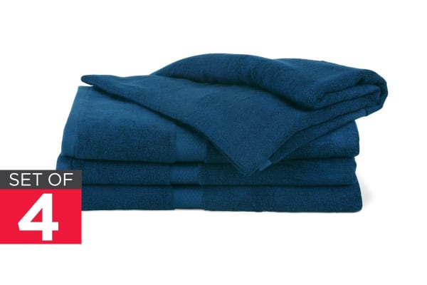 Ovela Set Of 4 Bamboo Cotton Luxury Bath Sheets Moonlight Blue