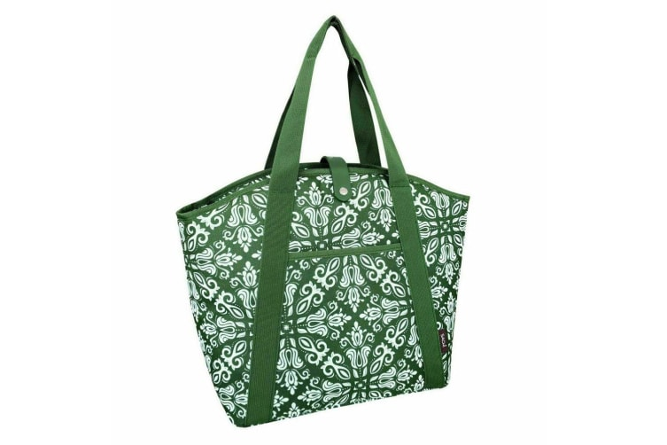 Sachi 48cm Insulated Thermal Cooler Shopping Lunch Bag Carry Picnic Bohemian GRN