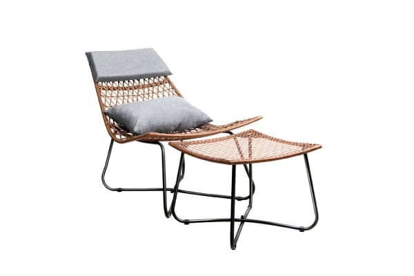 Outdoor Rattan Wicker Lounge Chair Set With Ottoman Kogan Com