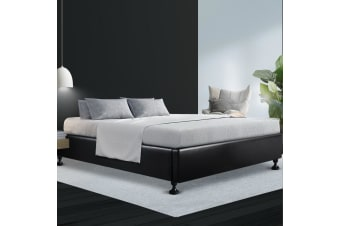 Artiss Queen Size Bed Base Frame Mattress Platform Leather Wooden Black TOMI