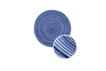 Hand-Knitted Round Shaped Table Placemat Tableware Pad Table Decor Blue 35Cm