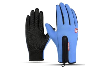 Outdoor Skiing Cold-Proof Touch Screen Sports Thickening Long-Fingered Gloves - Blue Black XL