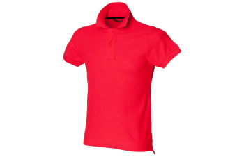 Skinni Fit Mens Club Polo Shirt (with Stay-up Collar) (Bright Red) (S)