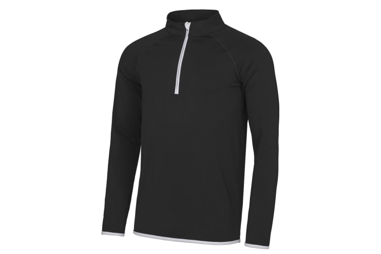 AWDis Just Cool Mens Half Zip Sweatshirt (Jet Black/ Arctic White) (L)