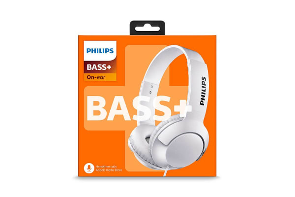 Philips BASS+ On-Ear Headphones with Microphone - White (SHL3075WT)