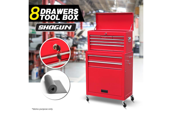 8 Drawers Tool Chest Metal Tool Box Cabinet 61.5cm x 33cm x 111.5cm Red