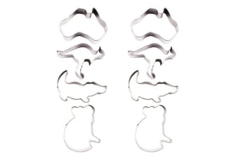 8pc Appetito Australian Animals Stainless Steel Cookie Mould Cutters Shape Set