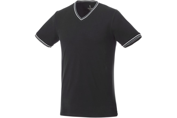 Elevate Mens Elbert Pique T-Shirt (Black/Grey Melange/White) (2XL)
