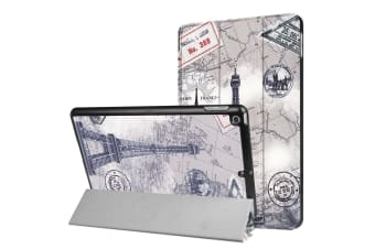 For iPad 2018 2017 9.7in Case Eiffel Tower Postcard Durable 3-fold Leather Cover