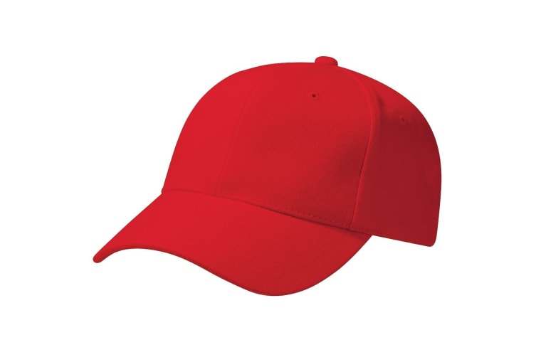 Beechfield Unisex Pro-Style Heavy Brushed Cotton Baseball Cap / Headwear (Classic Red) (One Size)