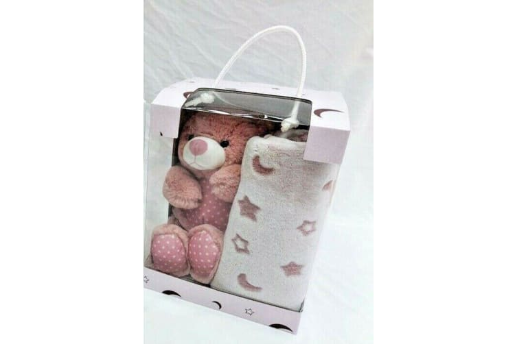 Plush Baby Huggie Bear Snuggler Teddy Stuffed Animal with Blanket Pink