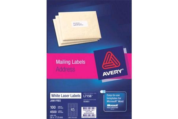AVERY L7156-100 Addressing Labels 58 x 17.8mm - 100 Sheets