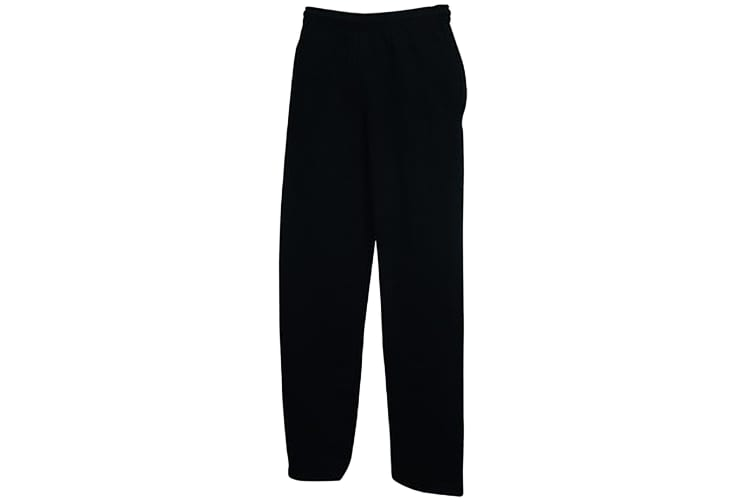 Fruit Of The Loom Mens Open Hem Jog Pants / Jogging Bottoms (Black) (S)