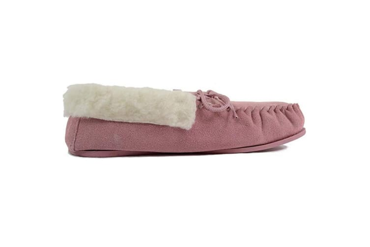 Eastern Counties Leather Womens/Ladies Hard Sole Wool Lined Moccasins (Pink) (6 UK)