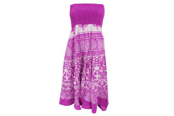 Womens/Ladies Peacock Print 2 In 1 Cotton Dress (Pink)