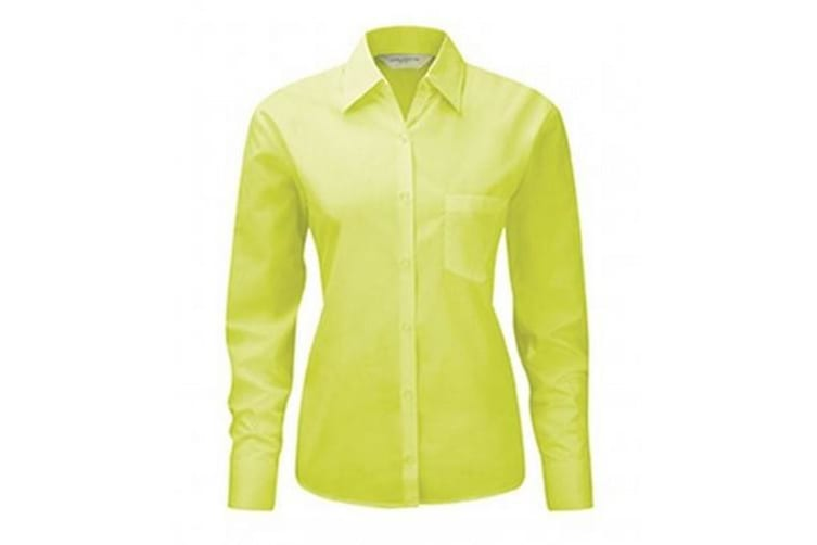 Russell Collection Ladies/Womens Long Sleeve Shirt (Lime) (L)