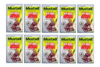 Mustad Big Red Size 6/0 - Bulk 10 Pce Value Pack - 92554npnr - 2x Strong