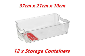 12 x Stackable Rectangle Crystal Clear Plastic Fridge Pantry Storage Container 37cm