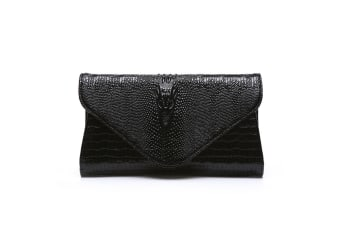 Sparkling Metal Lock Clutch Rhinestone Frosted Evening Party Clutches Black