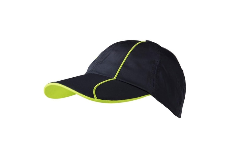 Myrtle Beach Adults Unisex 6 Panel Polyester Cap (Iron Grey/Green) (One Size)