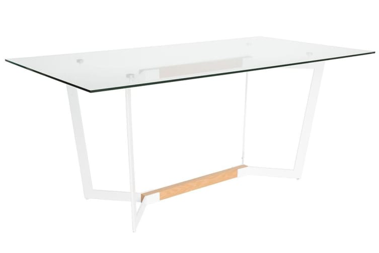 Delta Collection | Glass Dining Table | White & Natural | 180cm